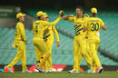 Josh Hazlewood brings out the elbow bump after taking a wicket, Australia v New Zealand, 1st ODI, Sydney, March 13, 2020