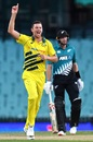 Josh Hazlewood celebrates a wicket, Australia v New Zealand, 1st ODI, Sydney, March 13, 2020