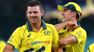 Josh Hazlewood and Pat Cummins are all smiles