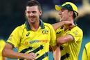 Josh Hazlewood and Pat Cummins are all smiles, Australia v New Zealand, 1st ODI, Sydney, March 13, 2020