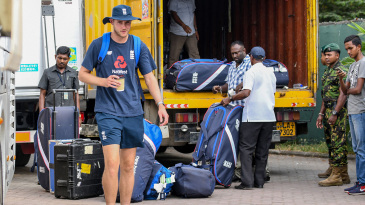 Stuart Broad heads for the team bus after England's tour match in Sri Lanka came to a premature end
