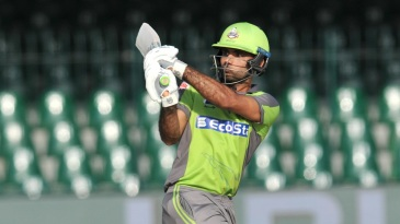 Fakhar Zaman looks on after playing a pull
