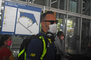 Faf du Plessis arrives at Kolkata airport in a face mask after South Africa's ODI tour of India was cancelled, March 16, 2020