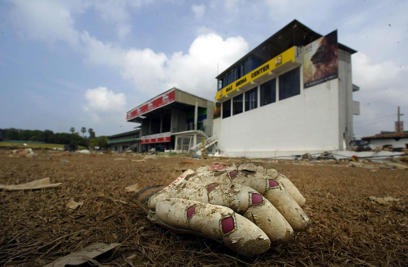 Galle International Stadium was devastated by the tsunami, and most of its outbuildings damaged, but it was turned into a makeshift camp for survivors and used as a helipad in the immediate aftermath