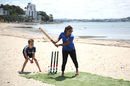 Mithali Raj plays a spot of beach cricket at during the Women's Cricket World Cup 2021 venue announcement, Auckland, New Zealand, January 23, 2020