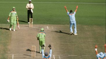 Ramiz Raja lbw Pringle was utterly plumb; no chance the umpire would have given it otherwise, back in 1992