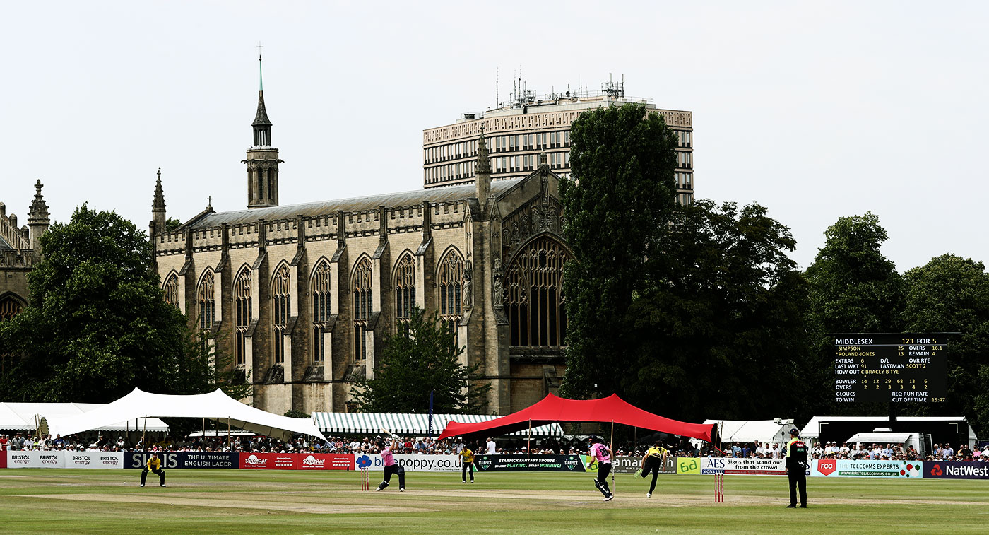 The impressive Cheltenham College chapel looms over the ground during a T20 game in 2019