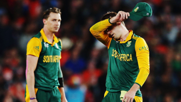 Dale Steyn and AB de Villiers take a moment to grasp the enormity of winning the World Cup semi-final