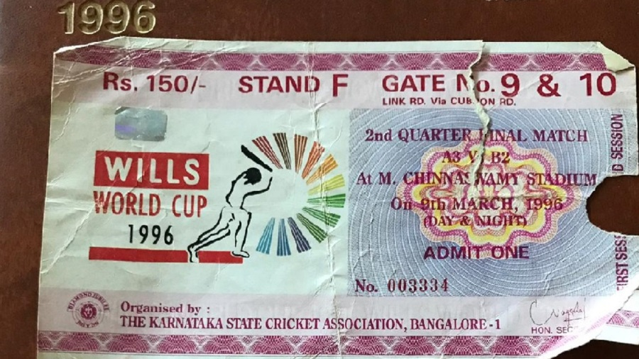 Tickets for the India-Pakistan 1996 World Cup match and India-Australia ODI in the same year in Bangalore