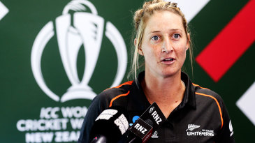 Sophie Devine speaks to the media at the 2021 World Cup launch