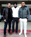 Abdul Samad (right) with coach Irfan Pathan and his father Mohammad Farooq