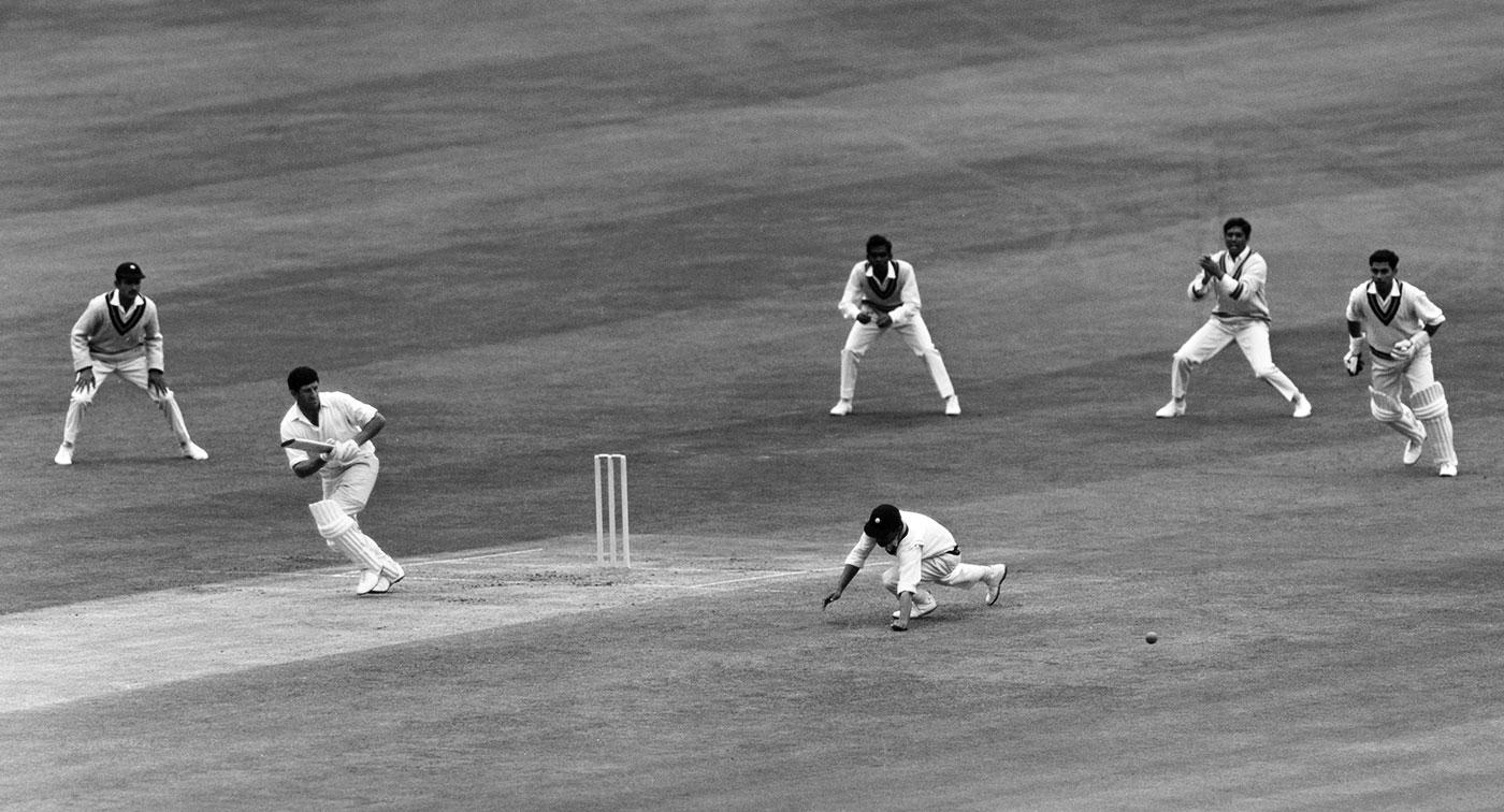 Ken Barrington pushes a ball past Hanumant Singh at short leg