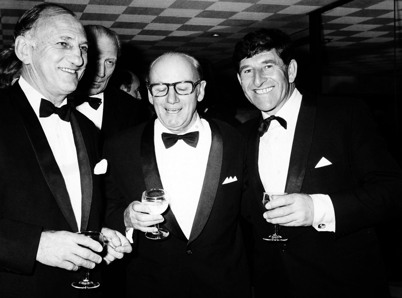 Len Hutton (first from left), Don Bradman and Ken Barrington at a charity event in London in 1974