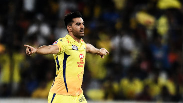 Deepak Chahar celebrates the wicket of Rohit Sharma