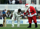 Nathan Astle gets a visit from Santa, Tour Match, Prime Minister's XI v New Zealanders, Canberra, Oct 23 2015