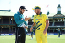 Kane Williamson and Aaron Finch at the toss, Australia v New Zealand, 1st ODI, Sydney, March 13, 2020