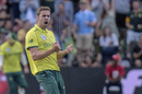 Anrich Nortje celebrates a wicket, South Africa v Australia, 2nd T20I, Port Elizabeth, February 23, 2020