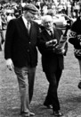 Bill O'Reilly and Don Bradman walk onto the pitch during the reopening of the Bradman Oval in Bowral, September 4, 1976