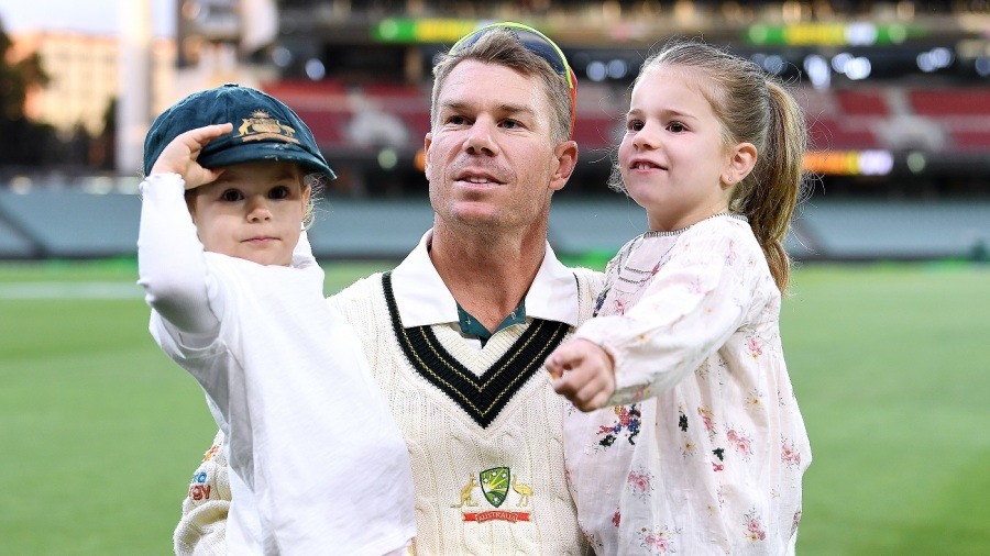 David Warner with his daughters Indi Rae and Ivy Mae at Adelaide Oval