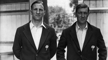 Len Hutton and Norman Yardley pictured in their Yorkshire blazers in 1946
