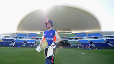 Eoin Morgan walks out for a net at Zayed Cricket Stadium, Abu Dhabi