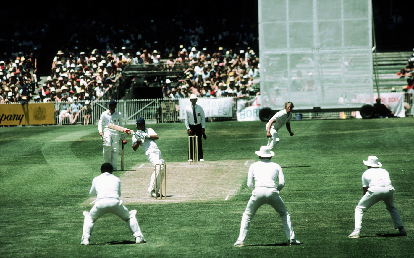 Better flying past you than at you: Allan Lamb watches a ball from Jeff Thomson zoom to the keeper in Melbourne, 1982-83