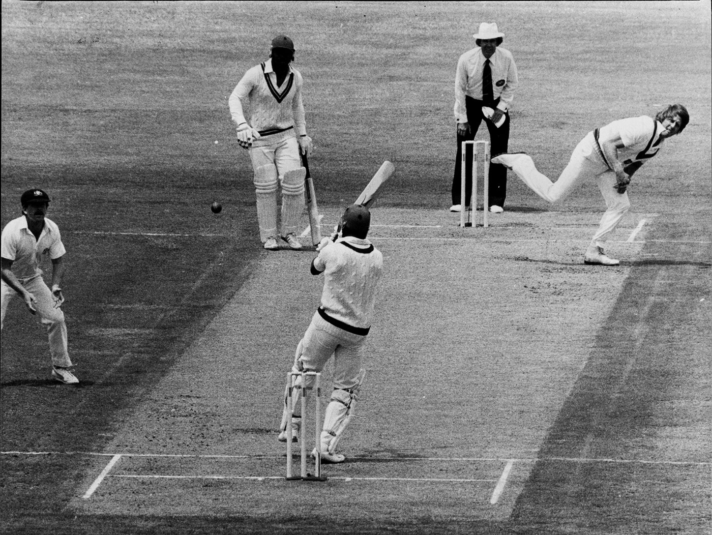 Desmond Haynes, trapped lbw to Jeff Thomson, for 15, Sydney, 1981-82