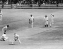 Sonny Ramadhin bowls, third day, first Test, England v West Indies, Edgbaston, June 1, 1957