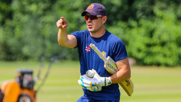 Netherlands coach Ryan Campbell leads a squad training session