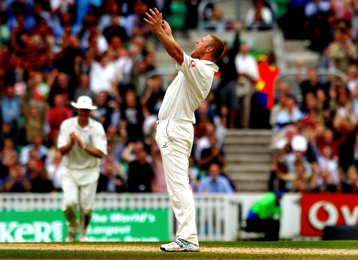 Andrew Flintoff celebrates the wicket of Simon Katich