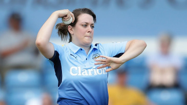 Katie Levick bowls during the inaugural Kia Super League match between Yorkshire Diamonds and Loughborough Lightning