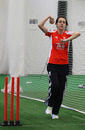 Katie Levick training at the National Cricket Performance Centre, Loughborough, February 18, 2012