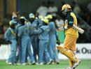 Mark Waugh walks back as India celebrate, India v Australia, ICC Knockout 2000