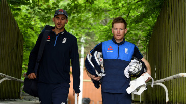 Alex Hales and Eoin Morgan on their way to training