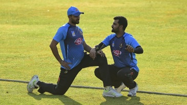 Mashrafe Mortaza and Tamim Iqbal exchange notes during a training session