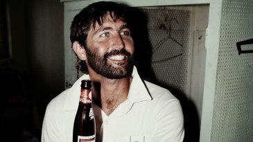 Graham Gooch enjoys a drink after the drawn final Test in Jamaica