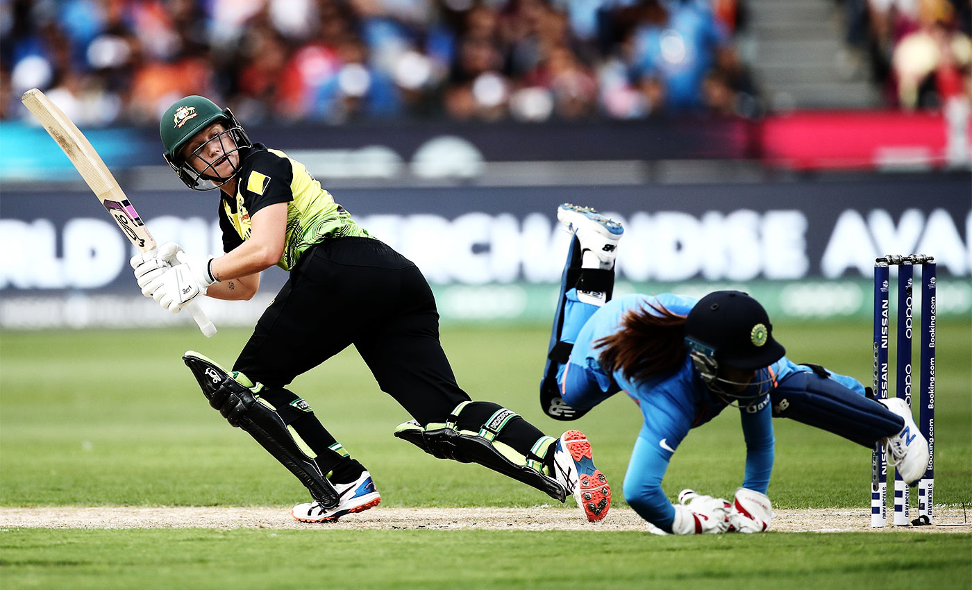 Hit, giggle, hit: Healy laughed frequently through her 75 in Australia's victory over India in the T20 World Cup in March this year