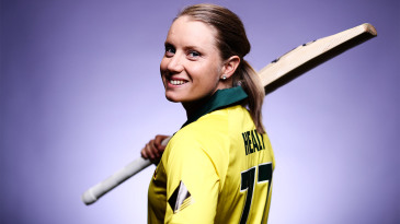 Alyssa Healy poses during a pre-Ashes photoshoot at Australia's National Cricket Centre of Excellence