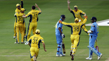 Australia celebrate their moment of victory: Zaheer Khan's wicket
