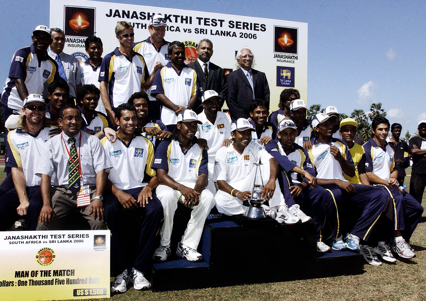 Sri Lanka pose with the series trophy