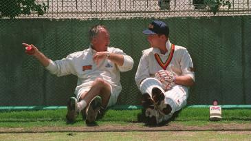 Fletcher talks to John Crawley in Melbourne on the 1994 Ashes tour.