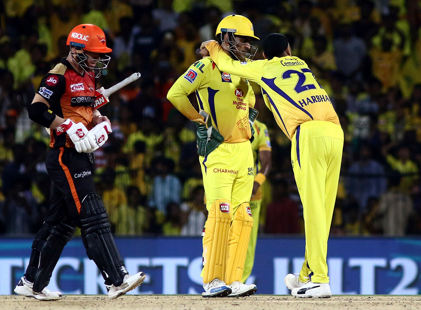 With Dhoni after dismissing David Warner in a 2019 game. Between Chris Gayle and Warner, Singh picks the latter as the more difficult batsman to bowl to in T20