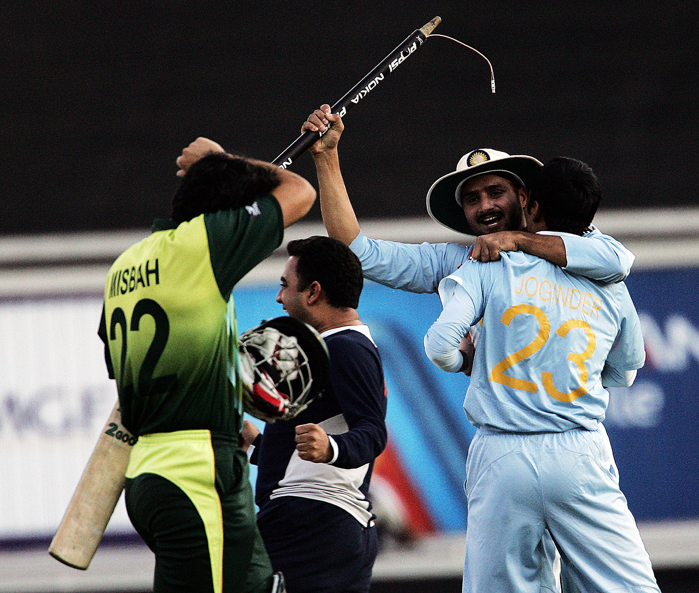 Singh emerged smiling at the end of the 2007 T20 World Cup final, though he got some stick from Misbah-ul-Haq when he resorted to bowling yorkers