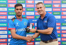 HD Ackerman presents Shafiqullah Ghafari with the Player-of-the-Match award, U19 World Cup, South Africa v Afghanistan, Willowmoore Park, Benoni, South Africa, February 05, 2020 in