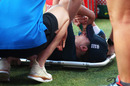 Kate Cross receives treatment after injuring her leg during the warm up ahead of the ICC Women's T20 World Cup match between England and West Indies, Sydney Showground Stadium, March 01, 2020
