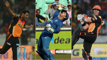 Bhuvneshwar Kumar, Adam Gilchrist and David Warner - three of the best from a combined Deccan Chargers and Sunrisers Hyderabad XI