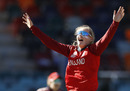 Sophie Ecclestone celebrates a wicket, England v Thailand, Women's T20 World Cup, Manuka Oval, February 26, 2020