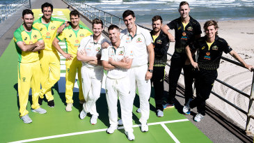 Australian players model the new one-day, Test and T20I kits for the season