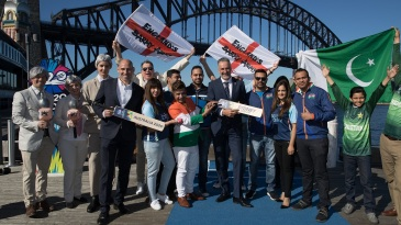 Local T20 World Cup organisers and cricket fans at an event in Sydney