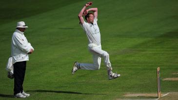 Alan Richardson leaps into his distinctive delivery stride